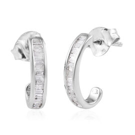 9K White Gold SGL Certified Diamond (Bgt) (I2-I3/G-H) Earrings (with Push Back) 0.330  Ct.
