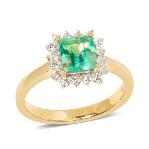 ILIANA 18K Yellow Gold AAA Boyaca Colombian Emerald (Oct) Diamond (SI/G-H) Ring 1.480 Ct.