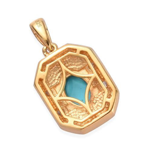Arizona Sleeping Beauty Turquoise, Natural Cambodian Zircon Pendant in 14K Gold Overlay Sterling Silver 1.35 Ct.