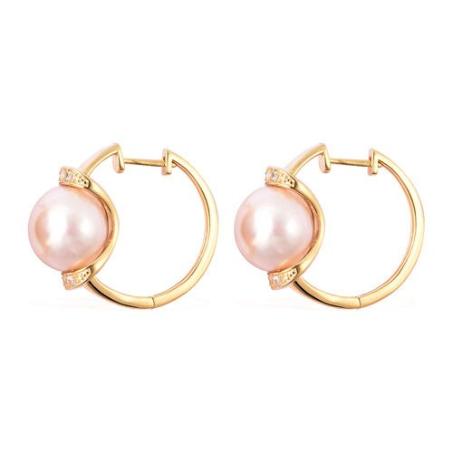 Edison Pearl and Natural Cambodian Zircon Earrings in Yellow Gold Overlay Sterling Silver, Silver wt 6.22 Gms