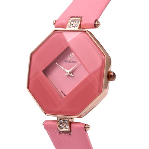 STRADA Japanese Movement White Austrian Crystal Studded Water Resistant Watch with Pink Strap