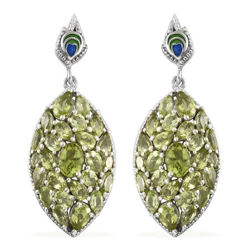 11.50 Ct AA Hebei Peridot Cluster Earrings in Platinum Plated Silver 12.10 grams
