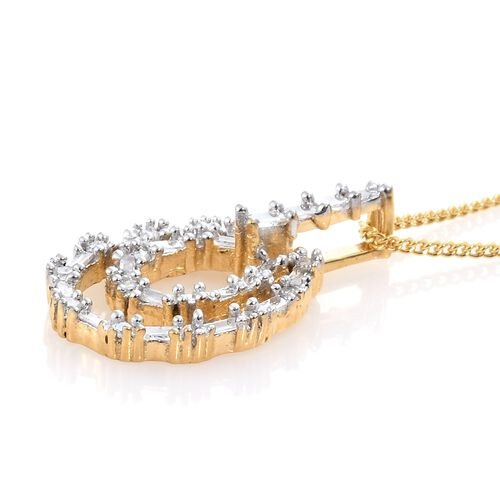 Diamond (Rnd and Bgt) Pendant With Chain in 14K Gold Overlay Sterling Silver 0.250 Ct.
