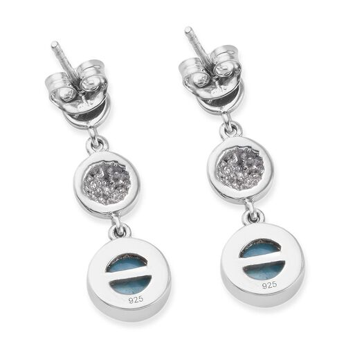 Larimar Dangle Earrings (with Push Back) in Platinum Overlay Sterling Silver 3.00 Ct.