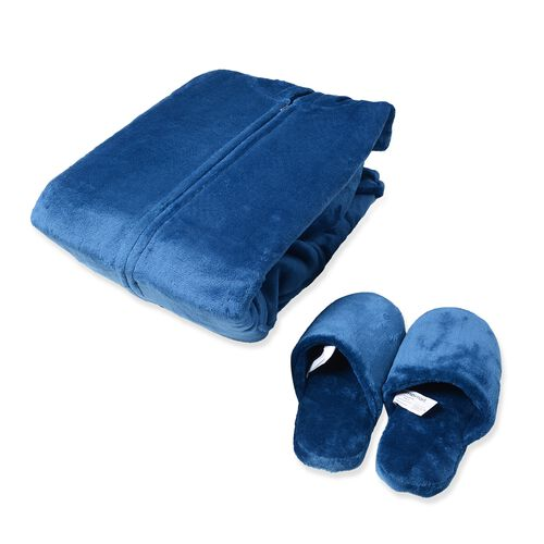 Set of 2 Dark Blue Colour Flannel Wrap and Pair of Slippers