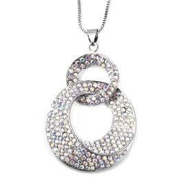 Simulated Mystic White Crystal (Rnd), Pendant with Chain in Silver Tone