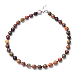 Picasso Jasper Beads Necklace (Size 18 with 2 inch Extender) in Stainless Steel 288.50 Ct.