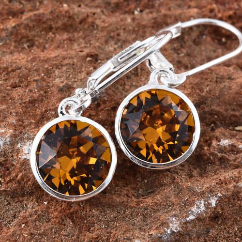 J Francis Crystal from Swarovski - Yellow Topaz Colour Crystal (Rnd 8mm) Lever Back Earrings in Sterling Silver