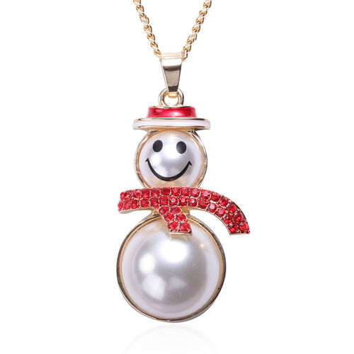 3 Piece Set - Red Austrian Crystal and Simulated Pearl Enamelled Snowman Pendant with Chain (Size 28 with 2 Inch Extender) and Hook Earrings in Gold Tone