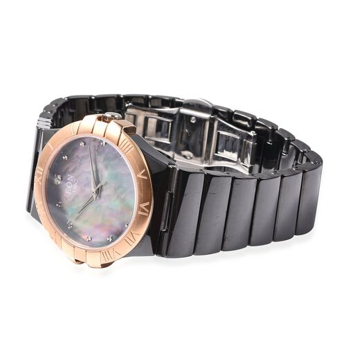 Doorbuster Deal - EON 1962 Swiss Movement Water Resistance Diamond Studded Watch with Grey Mother of Pearl Dial, Blue Sapphire and Black Ceramic Strap in Dual Tone Plating