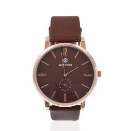 STRADA Silver Colour Plated Water Resistant Watch with Brown Colour Literal and Strap.