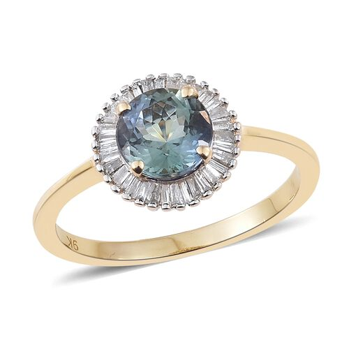 1.75 Ct AA Natural Green Tanzanite and Diamond Halo Ring in 9K Gold