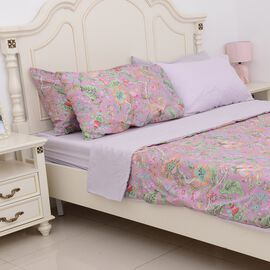 6 Piece Set - Lilac Colour Floral Pattern Duvet Cover (Size 200x200 Cm), 4 Pillow Case (Size 4x70x50