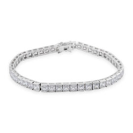 Simulated Diamond Princess Cut Tennis Bracelet in Silver Plated 7.75 Inch