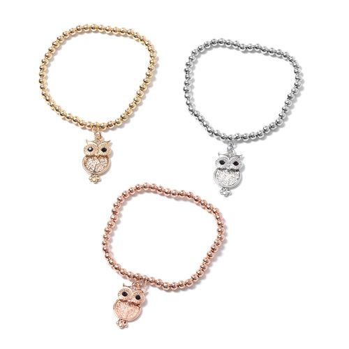 Set of 3- Austrian Black and White Crystal (Rnd)  Beads Bracelet with Owl Charm in Silver, Yellow and Rose Gold Plated