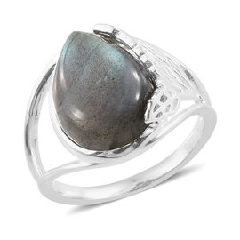 Labradorite (Pear) Ring in Sterling Silver 6.500 Ct.