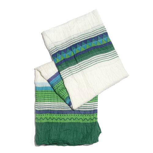 100% Cotton Green, White and Multi Colour Stripe Pattern Scarf (Size 200x90 Cm)
