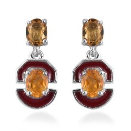 Citrine Enamelled Dangle Earrings (with Push Back) in Platinum Overlay Sterling Silver 1.15 Ct.