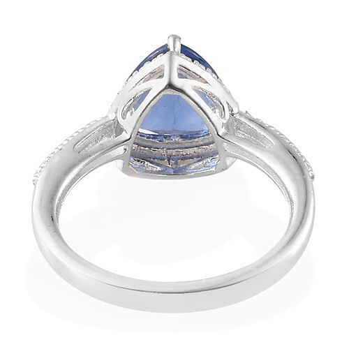 Chinese Blue Fluorite (Trillion) Ring in Sterling Silver 2.000 Ct.
