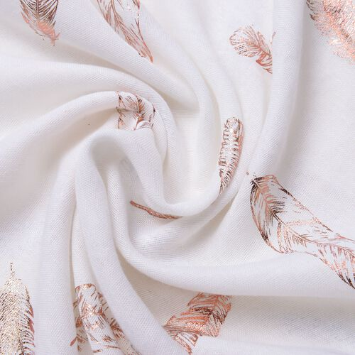 Golden Feathers Pattern White Colour Scarf with Fringes (Size 180X70 Cm)
