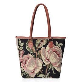 Black Floral Pattern Tote Bag (Size 42x31x12x35 Cm) with Zipper Closure