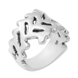 Sterling Silver Olive Leaves Band Ring (Size R)