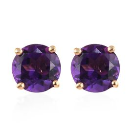 Amethyst (Rnd) Stud Earrings (with Push Back) in 14K Gold Overlay Sterling Silver 1.50 Ct.