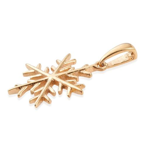 14K Gold Overlay Sterling Silver Snowflake Pendant and Stud Earrings (with Push Back)