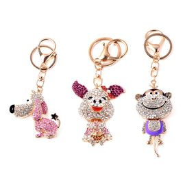 Set of 3 - Multicolour Austrian Crystal Dog, Piglet and Monkey Enamelled Keychain in Gold Tone