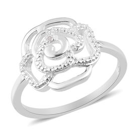 Diamond Rose Floral Ring in Sterling Silver
