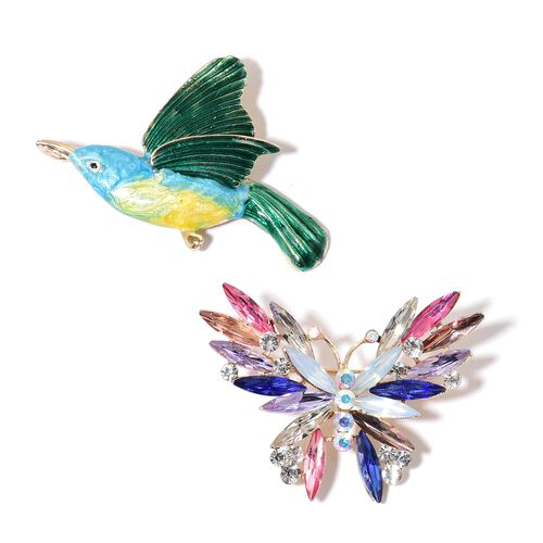 Set of 2 - AAA White and Magic Colour Austrian Crystal and Simulated Multi Gemstone Enameled Butterfly and Humming Bird Brooch or Pendant with Chain (Size 20) in Yellow Gold Tone