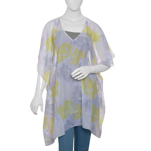 New Arrival - Yellow, Grey and Pink Colour Digital Printed Kaftan (Size 90x65 Cm)