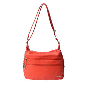 SENCILLEZ Multi Pocket 100% Genuine Leather Crossbody Bag - Orange