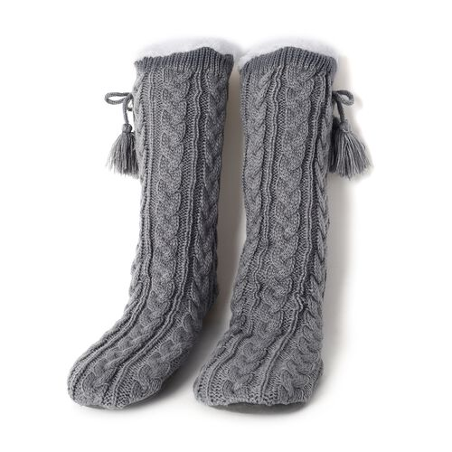 Set of 2 Pairs - Warm and Soft Grey and Brown Colour Faux Fur Booties with Sherpa Lining (Size 25x24Cm) (size 4-9)