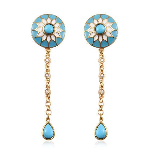 Arizona Sleeping Beauty Turquoise and Natural Cambodian Zircon Floral Drop Earrings (with Push Back)