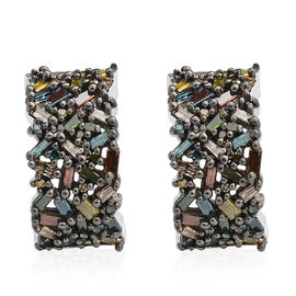1 Carat Rainbow Diamond Cluster Earrings in Black and Platinum Plated Silver