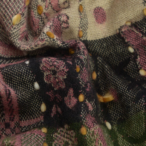 Hand Embroidered Adda Work - Floral Pattern Dusky Pink and Multi Colour Geometry Kimono (One Size)