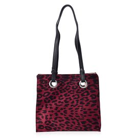 Leopard Pattern Velvet Tote Bag with Magnetic Closure (Size 29x28x12 Cm) - Wine