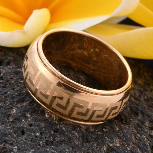 9K Yellow Gold Greek Key Design Spinner Ring