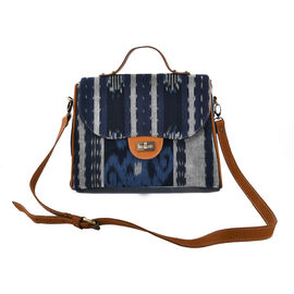 Genuine Leather Strap Hand Crafted Leather and Tenun Handbag with Adjustable Shoulder Strap (Size 31