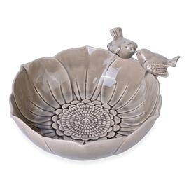 Grey Colour Twin Birds Standing Flower Shape Ceramic Fruit Plate (Size 25.5x8 Cm)
