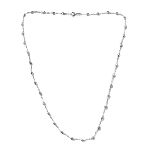 Italian Close Out Rhodium Plated Sterling Silver Bead Station Chain (Size 22), Silver wt. 4.98 Gms.