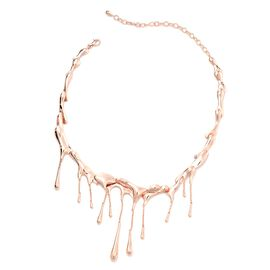 LucyQ Rose Gold Overlay Sterling Silver Drip Necklace (Size 16 with 4 inch Extender), Silver wt 74.34 Gms.