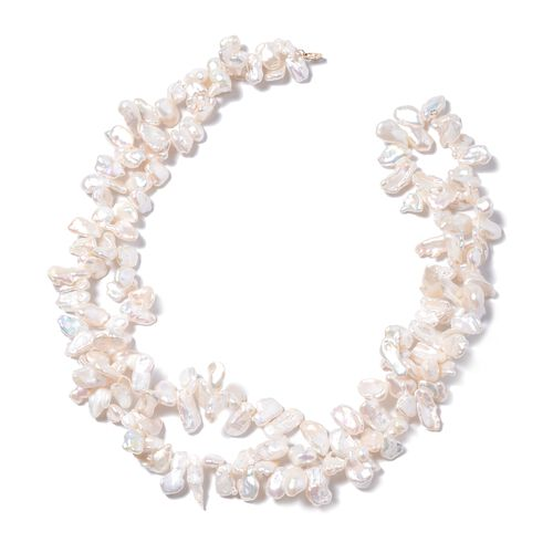 Keshi White Pearl Double Strand Beaded Necklace in 9K Yellow Gold 20 Inch