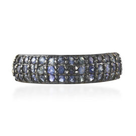 New York Collection - Kanchanaburi Blue Sapphire (Rnd) Cluster Ring in Black Rhodium Plated Sterling Silver 1 Carat