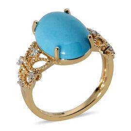 ILIANA AAA Sleeping Beauty Turquoise and Diamond Ring in 18K Yellow Gold,4.64 Ct