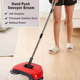 360 Degree Rotating Multi-functional 3-in-1 Sweeper Broom (Size 37x10x22 Cm) - Red