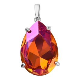 J Francis - Crystal from Swarovski Astral Pink Crystal (Pear) Pendant in Platinum Overlay Sterling S