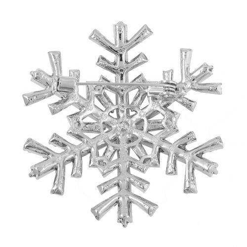 Aurora Borealis Colour and White Austrian Crystal Snowflake Brooch