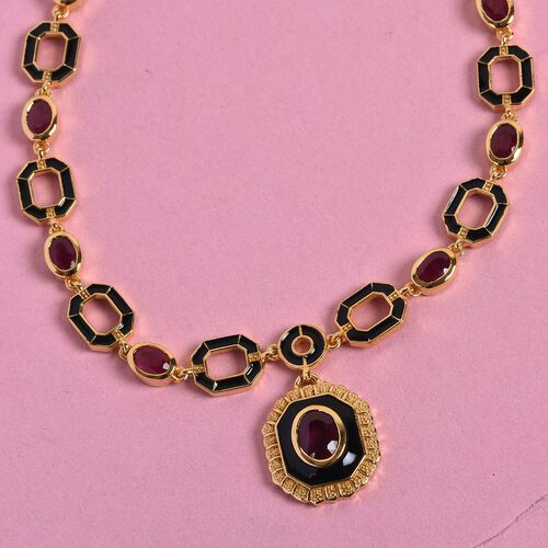 Designer -African Ruby Enamelled Necklace (Size 18) in 14K Gold Overlay Sterling Silver 12.00 Ct, Silver wt 26.00 Gms